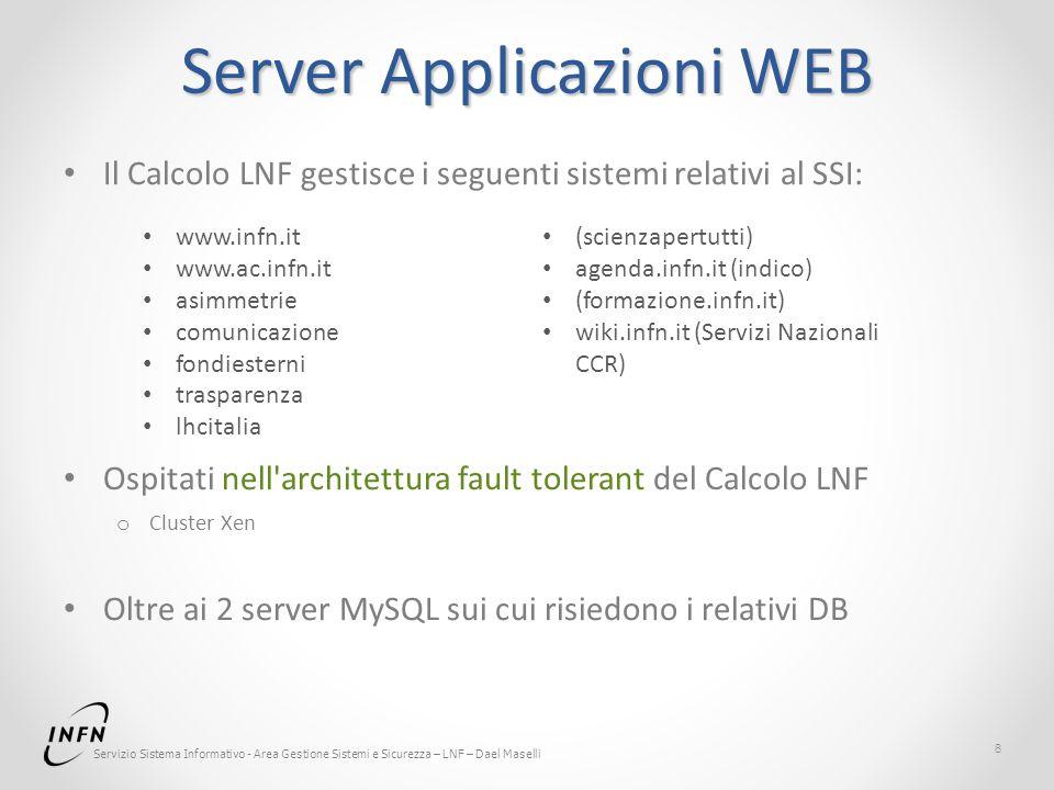 Servizio Sistema Informativo - Area Gestione Sistemi e Sicurezza – LNF – Dael Maselli Server Applicazioni WEB Il Calcolo LNF gestisce i seguenti siste
