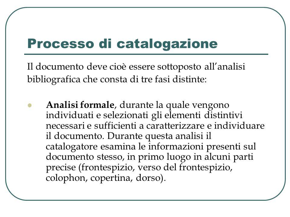 Processo di catalogazione Il documento deve cioè essere sottoposto all'analisi bibliografica che consta di tre fasi distinte: Analisi formale, durante la quale vengono individuati e selezionati gli elementi distintivi necessari e sufficienti a caratterizzare e individuare il documento.
