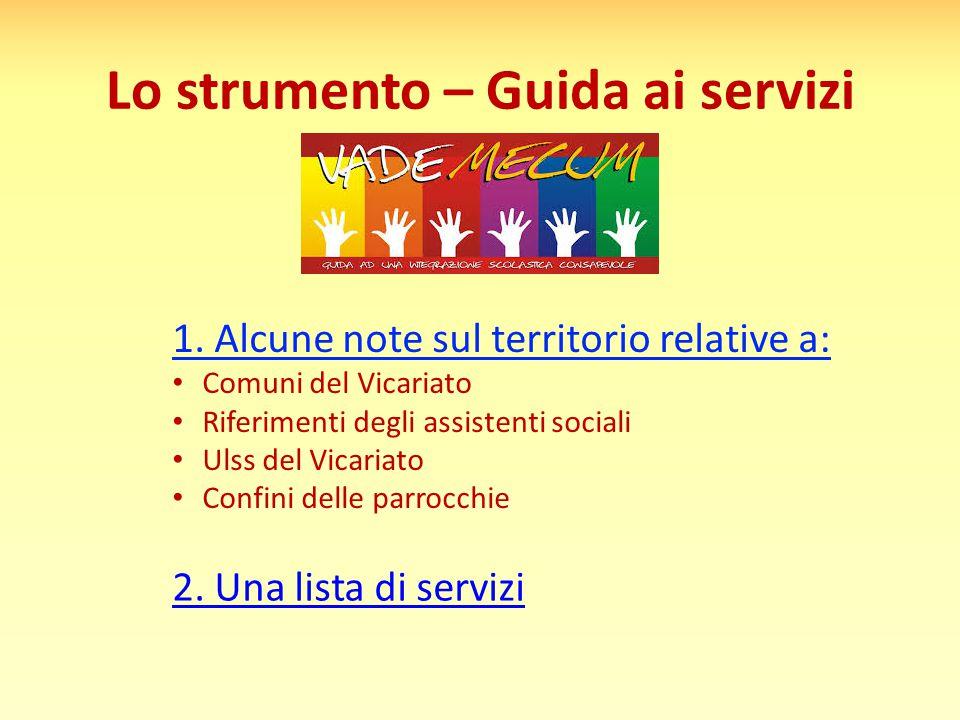 Lo strumento – Guida ai servizi 1. Alcune note sul territorio relative a: Comuni del Vicariato Riferimenti degli assistenti sociali Ulss del Vicariato