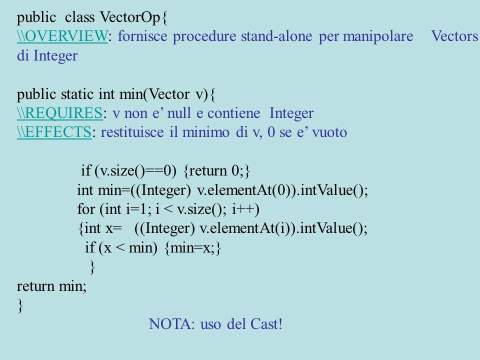 public static boolean search(Vector v,int x){ \\REQUIRES: v non e' null e contiene Integer \\EFFECTS\\EFFECTS: restituisce true se x appartiene a v, false altrimenti for (int j=0; j < v.size(); j++) {int y=((Integer) v.elementAt(j)).intValue(); if (x==y) {return true;} } return false;} public static Vector inc(Vector v,int x){ \\REQUIRES: v non e' null e contiene Integer \\EFFECTS\\EFFECTS: restituisce il Vector ottenuto incrementando ogni elemento di x Vector nuovo=new Vector(); for (int j=0; j < v.size(); j++) {int y= ((Integer) v.elementAt(j)).intValue(); nuovo.addElement(new Integer(y+x) );} return nuovo;}