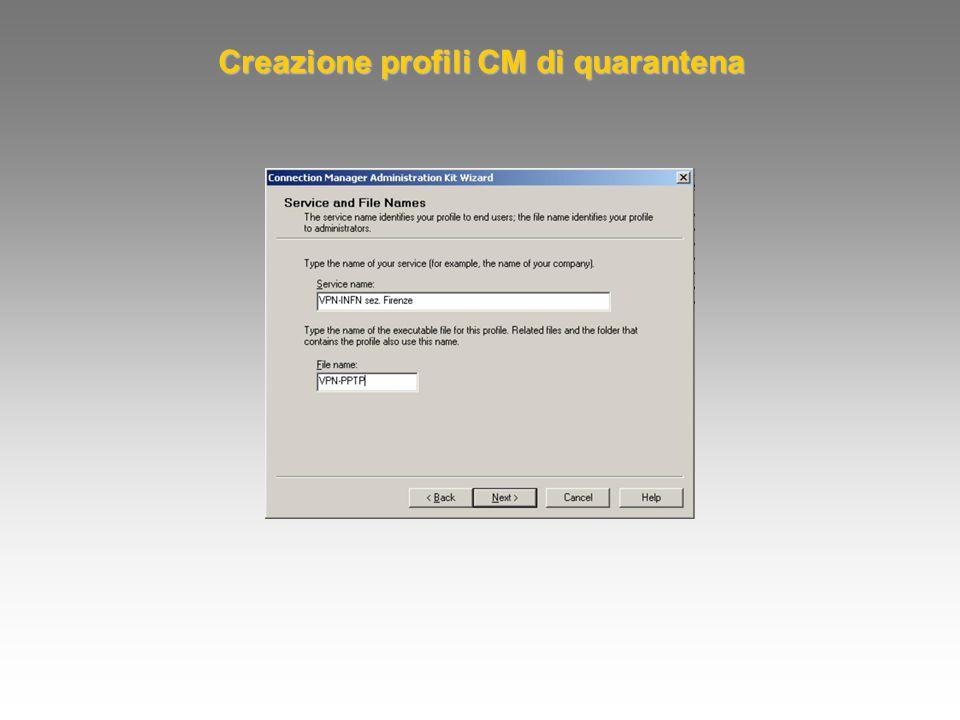 Creazione profili CM di quarantena