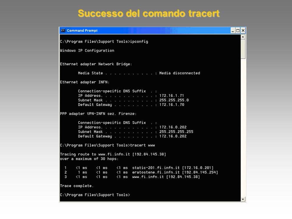 Successo del comando tracert