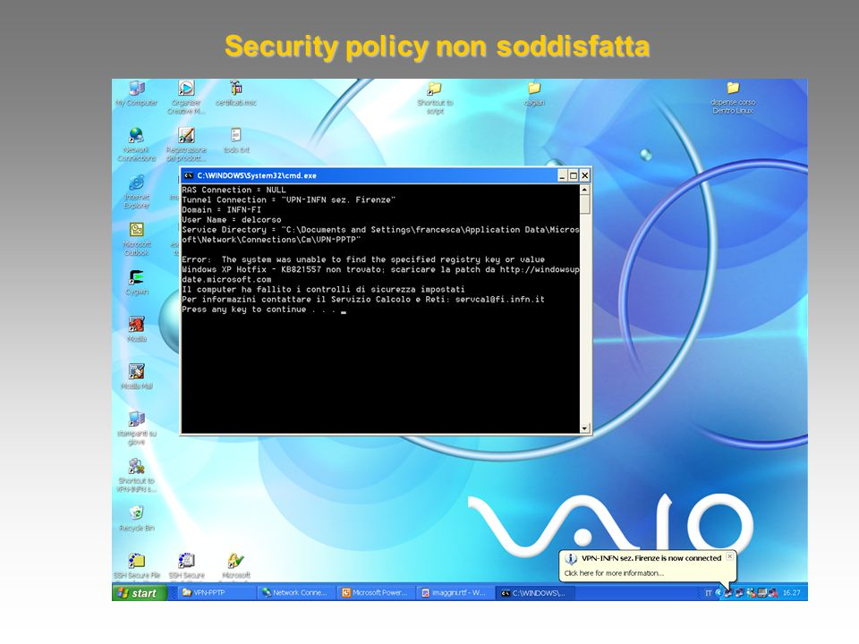 Security policy non soddisfatta