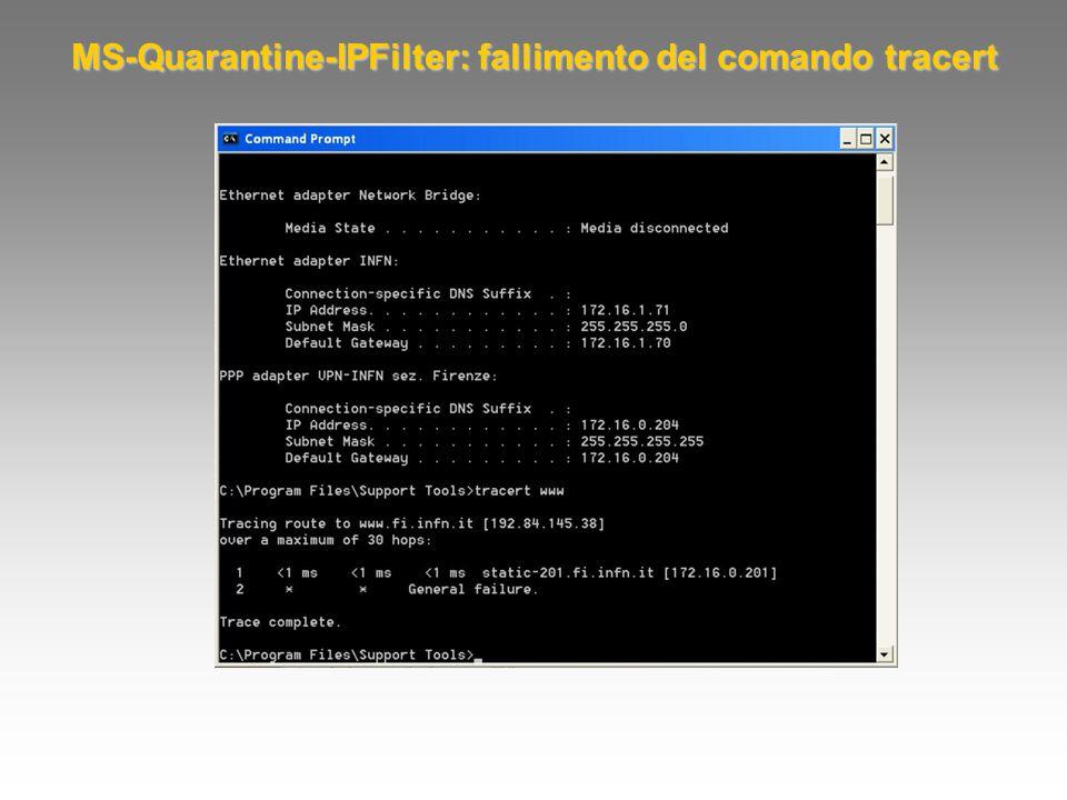 MS-Quarantine-IPFilter: fallimento del comando tracert