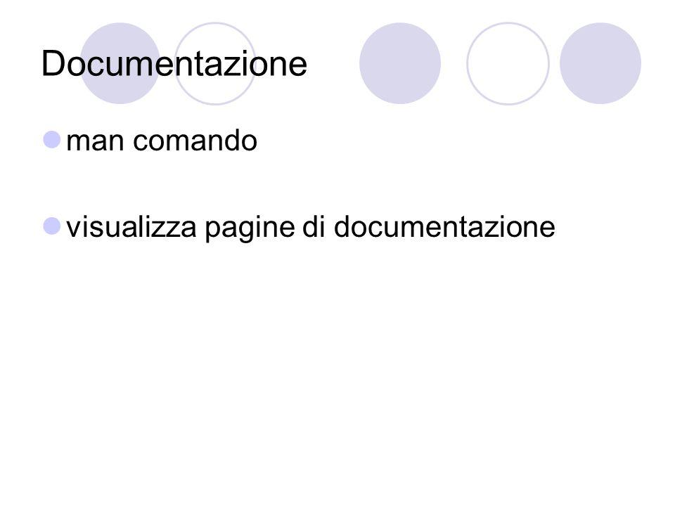 Documentazione man comando visualizza pagine di documentazione