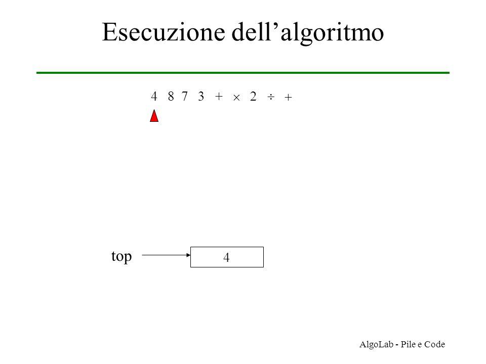 AlgoLab - Pile e Code Esecuzione dell'algoritmo 4 8 7 3 +     4 top