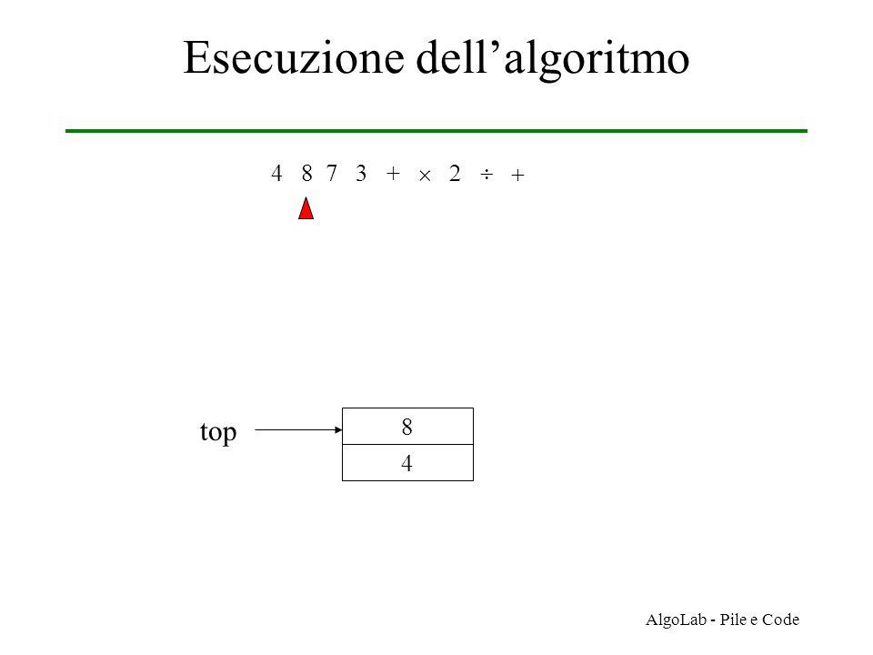AlgoLab - Pile e Code Esecuzione dell'algoritmo 4 8 7 3 +     4 8 top