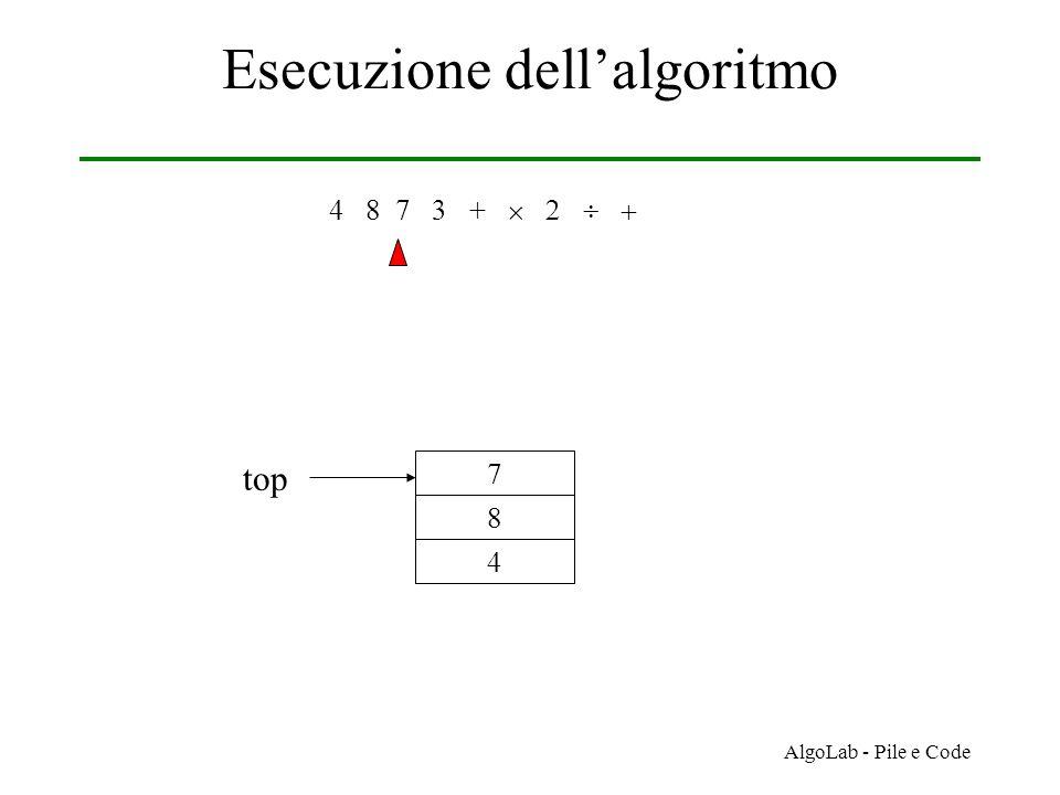 AlgoLab - Pile e Code Esecuzione dell'algoritmo 4 8 7 3 +     4 8 7 top