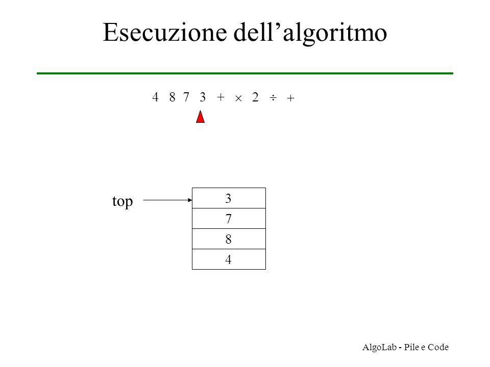 AlgoLab - Pile e Code Esecuzione dell'algoritmo 4 8 7 3 +     4 8 7 3 top