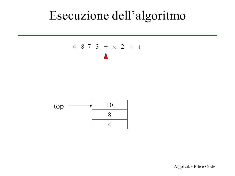 AlgoLab - Pile e Code Esecuzione dell'algoritmo 4 8 7 3 +     4 8 10 top