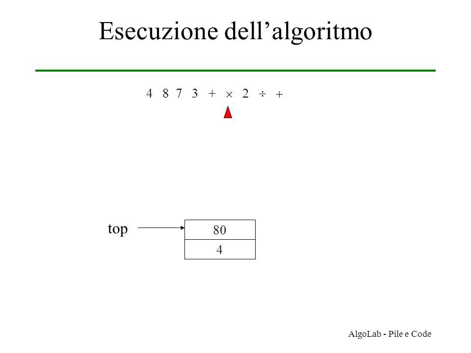 AlgoLab - Pile e Code Esecuzione dell'algoritmo 4 8 7 3 +     4 80 top