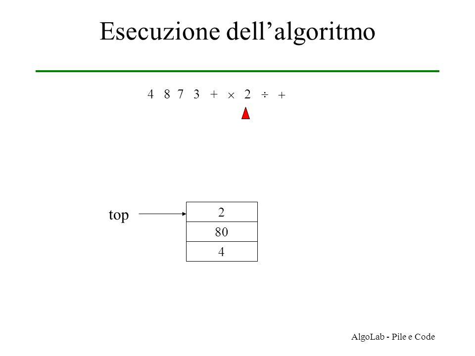 AlgoLab - Pile e Code Esecuzione dell'algoritmo 4 8 7 3 +     4 80 2 top