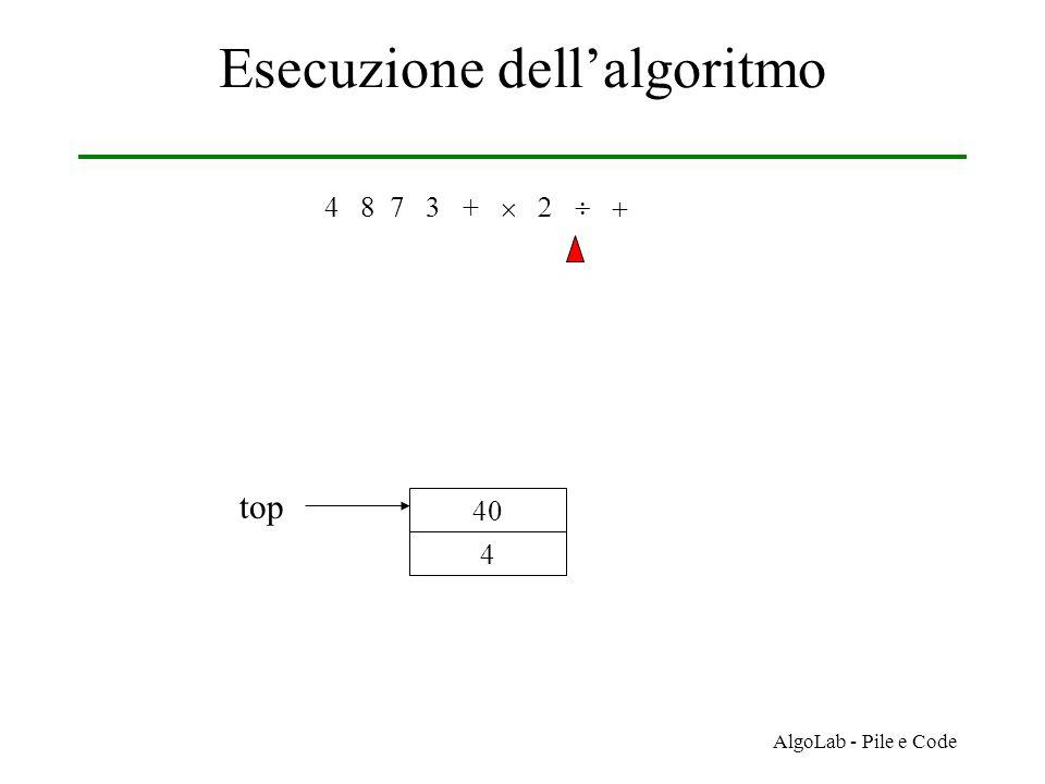 AlgoLab - Pile e Code Esecuzione dell'algoritmo 4 8 7 3 +     4 40 top