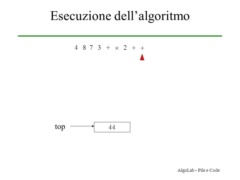 AlgoLab - Pile e Code Esecuzione dell'algoritmo 4 8 7 3 +     44 top