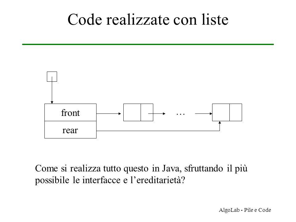 AlgoLab - Pile e Code Code realizzate con liste front rear … Come si realizza tutto questo in Java, sfruttando il più possibile le interfacce e l'ereditarietà?