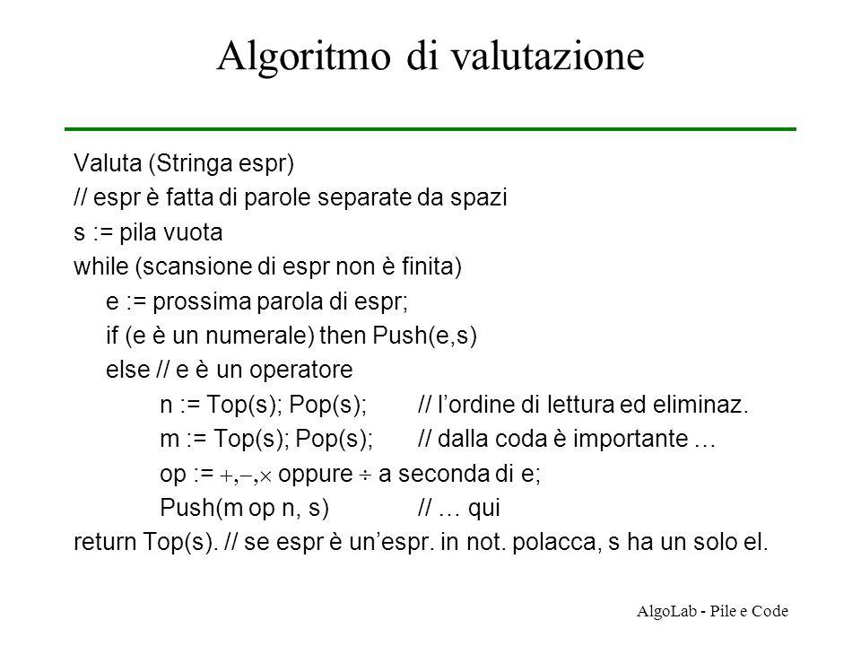 AlgoLab - Pile e Code Algoritmo di valutazione Valuta (Stringa espr) // espr è fatta di parole separate da spazi s := pila vuota while (scansione di espr non è finita) e := prossima parola di espr; if (e è un numerale) then Push(e,s) else // e è un operatore n := Top(s); Pop(s);// l'ordine di lettura ed eliminaz.