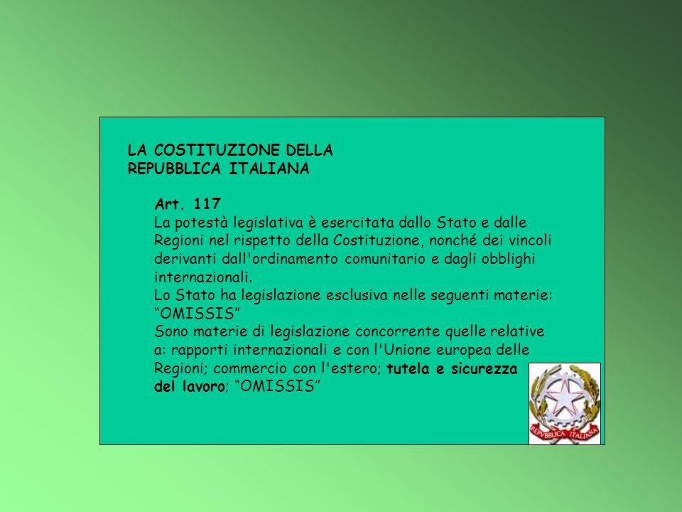 LA COSTITUZIONE DELLA REPUBBLICA ITALIANA Art. 117 La potestà legislativa è esercitata dallo Stato e dalle Regioni nel rispetto della Costituzione, no