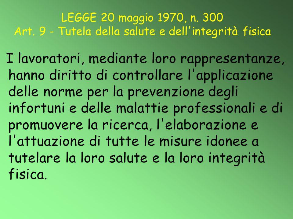 LEGGE 20 maggio 1970, n. 300 Art. 9 - Tutela della salute e dell'integrità fisica I lavoratori, mediante loro rappresentanze, hanno diritto di control