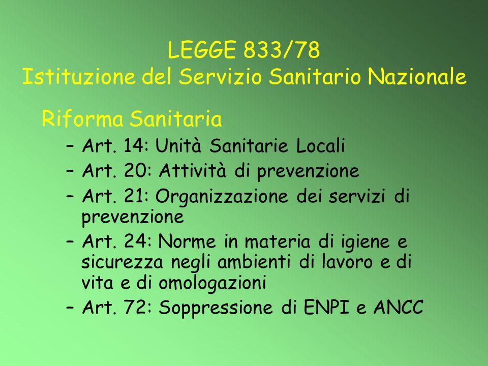 LEGGE 833/78 Istituzione del Servizio Sanitario Nazionale Riforma Sanitaria –Art. 14: Unità Sanitarie Locali –Art. 20: Attività di prevenzione –Art. 2