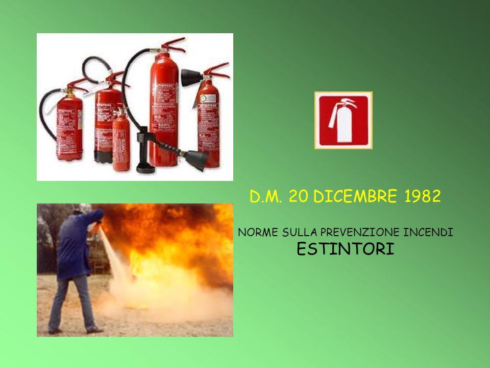 D.M. 20 DICEMBRE 1982 NORME SULLA PREVENZIONE INCENDI ESTINTORI