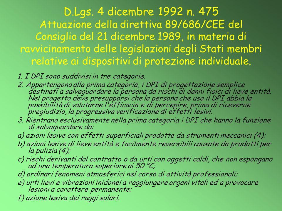 D.Lgs. 4 dicembre 1992 n. 475 Attuazione della direttiva 89/686/CEE del Consiglio del 21 dicembre 1989, in materia di ravvicinamento delle legislazion