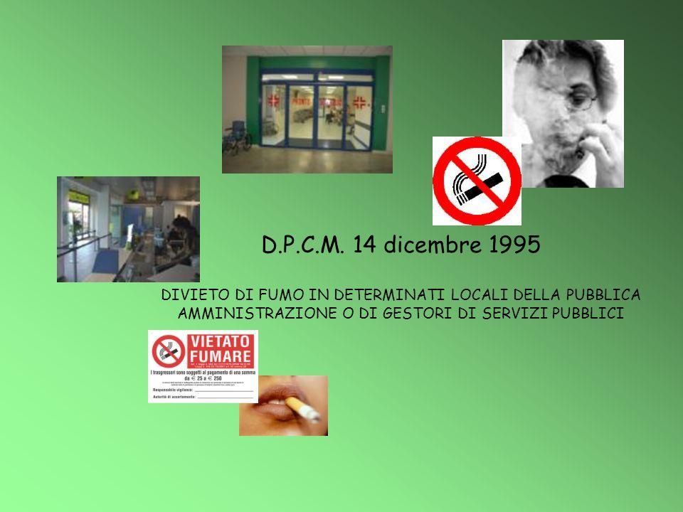 D.P.C.M. 14 dicembre 1995 DIVIETO DI FUMO IN DETERMINATI LOCALI DELLA PUBBLICA AMMINISTRAZIONE O DI GESTORI DI SERVIZI PUBBLICI