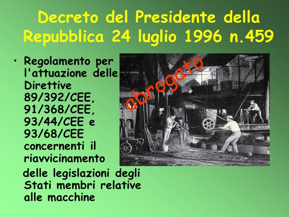 Decreto del Presidente della Repubblica 24 luglio 1996 n.459 Regolamento per l'attuazione delle Direttive 89/392/CEE, 91/368/CEE, 93/44/CEE e 93/68/CE
