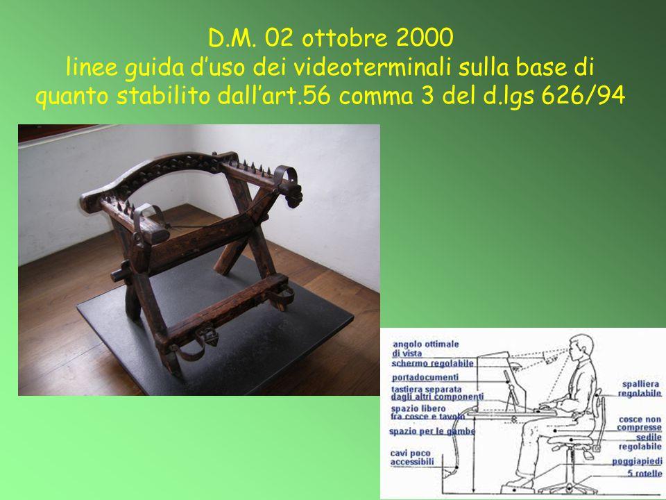D.M. 02 ottobre 2000 linee guida d'uso dei videoterminali sulla base di quanto stabilito dall'art.56 comma 3 del d.lgs 626/94