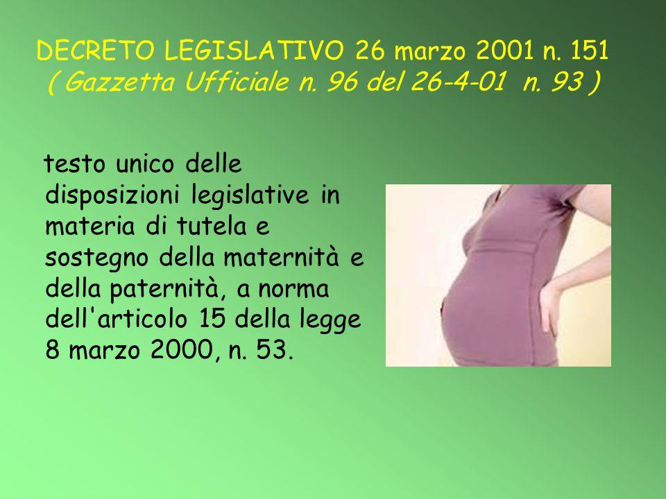 DECRETO LEGISLATIVO 26 marzo 2001 n. 151 ( Gazzetta Ufficiale n. 96 del 26-4-01 n. 93 ) testo unico delle disposizioni legislative in materia di tutel