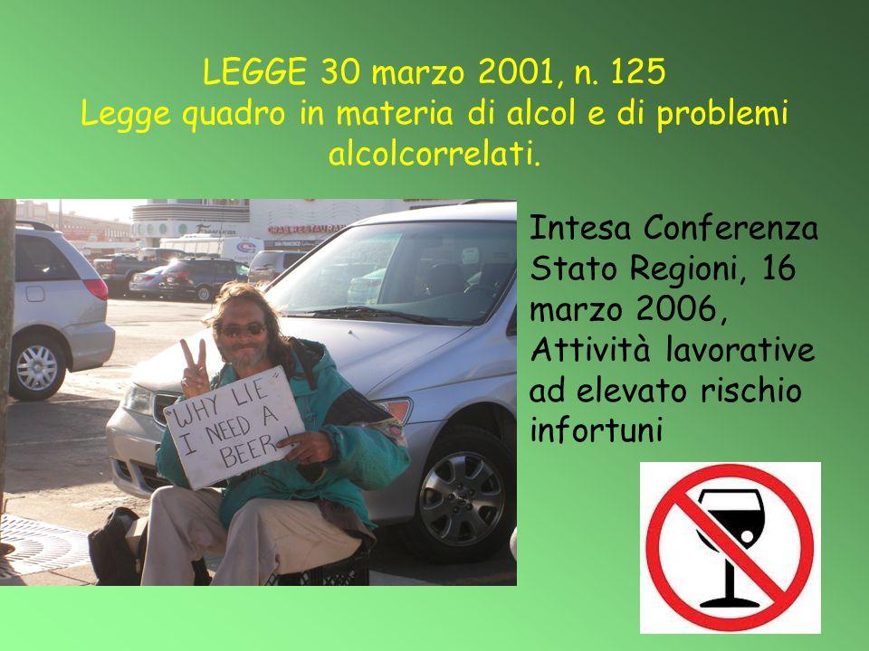 LEGGE 30 marzo 2001, n. 125 Legge quadro in materia di alcol e di problemi alcolcorrelati. Intesa Conferenza Stato Regioni, 16 marzo 2006, Attività la