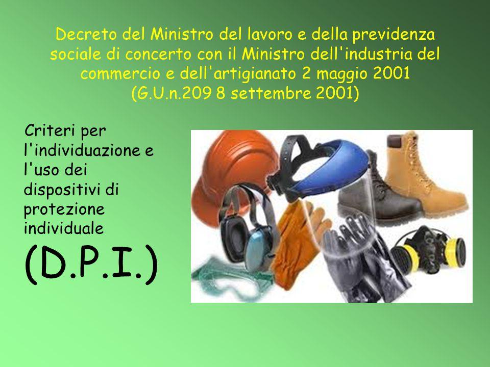 Decreto del Ministro del lavoro e della previdenza sociale di concerto con il Ministro dell'industria del commercio e dell'artigianato 2 maggio 2001 (