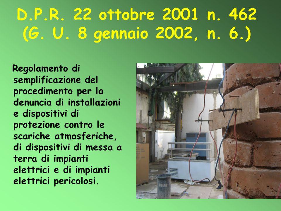 D.P.R. 22 ottobre 2001 n. 462 (G. U. 8 gennaio 2002, n. 6.) Regolamento di semplificazione del procedimento per la denuncia di installazioni e disposi
