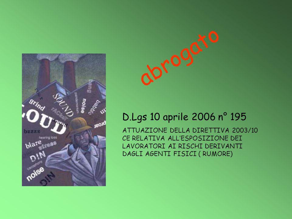 D.Lgs 10 aprile 2006 n° 195 ATTUAZIONE DELLA DIRETTIVA 2003/10 CE RELATIVA ALL'ESPOSIZIONE DEI LAVORATORI AI RISCHI DERIVANTI DAGLI AGENTI FISICI ( RU