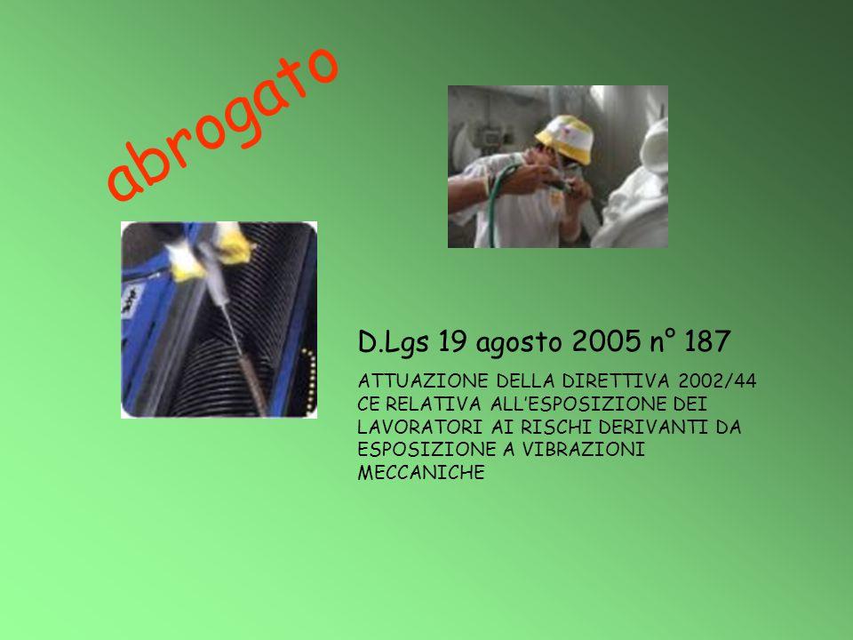 D.Lgs 19 agosto 2005 n° 187 ATTUAZIONE DELLA DIRETTIVA 2002/44 CE RELATIVA ALL'ESPOSIZIONE DEI LAVORATORI AI RISCHI DERIVANTI DA ESPOSIZIONE A VIBRAZI