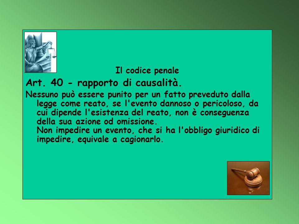 Il codice penale Art. 40 - rapporto di causalità. Nessuno può essere punito per un fatto preveduto dalla legge come reato, se l'evento dannoso o peric