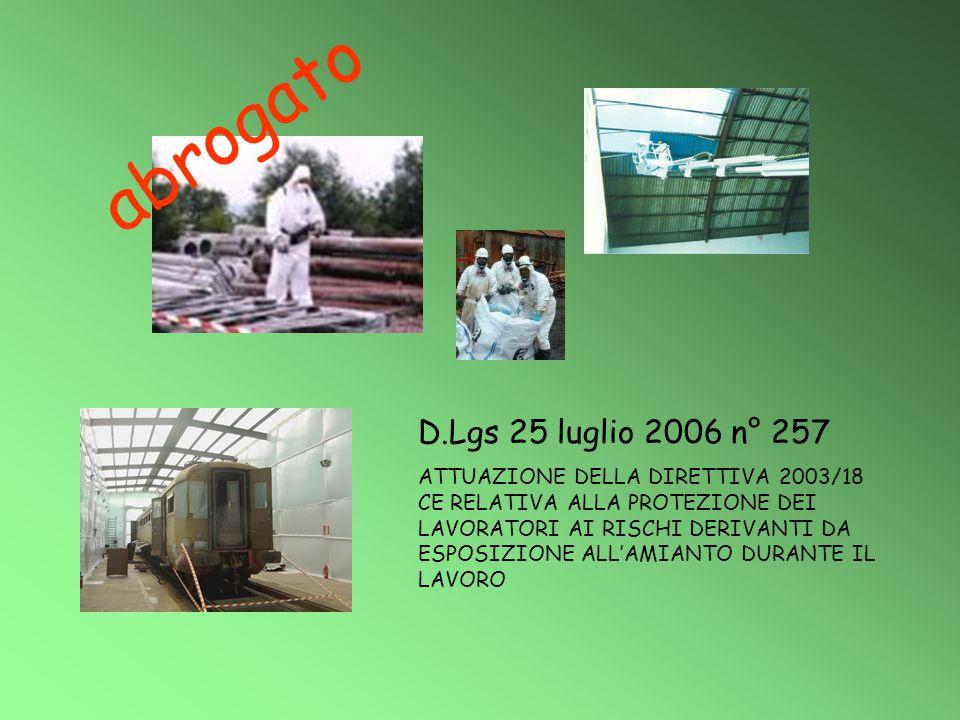 D.Lgs 25 luglio 2006 n° 257 ATTUAZIONE DELLA DIRETTIVA 2003/18 CE RELATIVA ALLA PROTEZIONE DEI LAVORATORI AI RISCHI DERIVANTI DA ESPOSIZIONE ALL'AMIAN