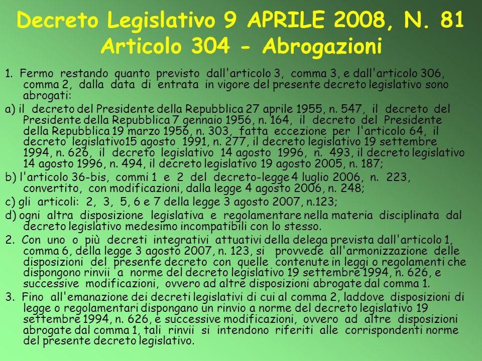 Decreto Legislativo 9 APRILE 2008, N. 81 Articolo 304 - Abrogazioni 1. Fermo restando quanto previsto dall'articolo 3, comma 3, e dall'articolo 306, c
