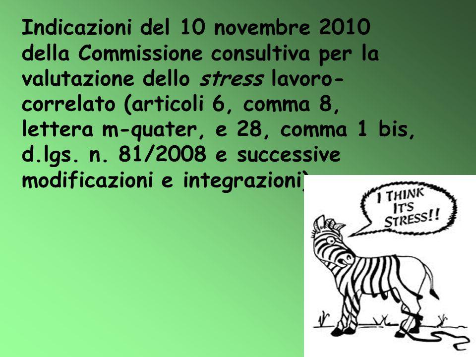 Indicazioni del 10 novembre 2010 della Commissione consultiva per la valutazione dello stress lavoro- correlato (articoli 6, comma 8, lettera m-quater