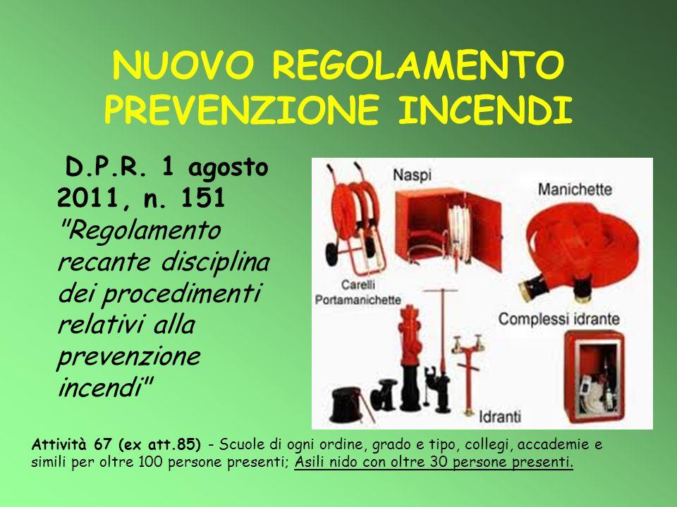 NUOVO REGOLAMENTO PREVENZIONE INCENDI D.P.R. 1 agosto 2011, n. 151