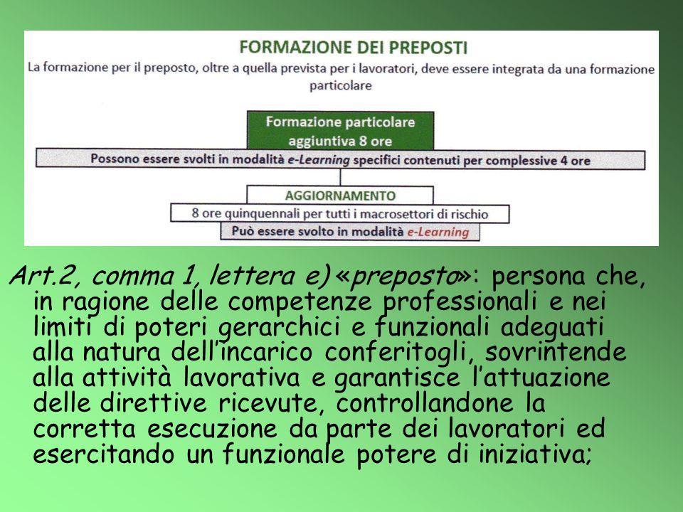 Art.2, comma 1, lettera e) «preposto»: persona che, in ragione delle competenze professionali e nei limiti di poteri gerarchici e funzionali adeguati