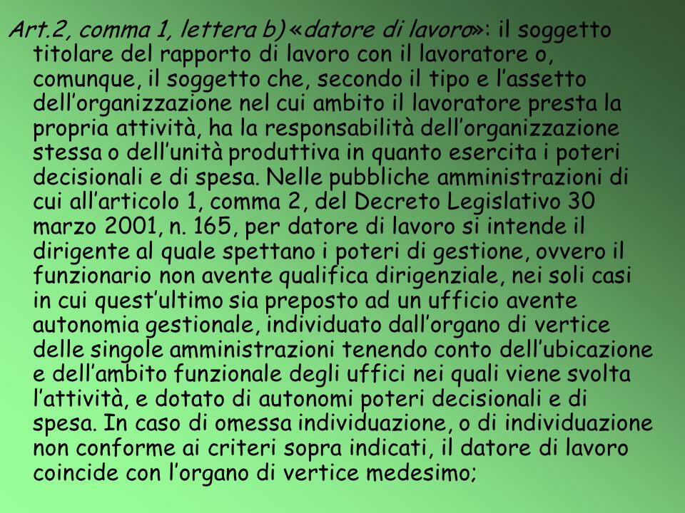 Art.2, comma 1, lettera b) «datore di lavoro»: il soggetto titolare del rapporto di lavoro con il lavoratore o, comunque, il soggetto che, secondo il