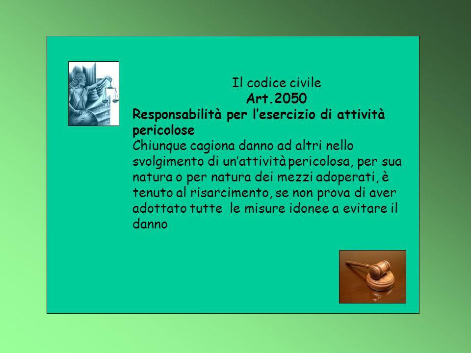 Il codice civile Art.2050 Responsabilità per l'esercizio di attività pericolose Chiunque cagiona danno ad altri nello svolgimento di un'attività peric
