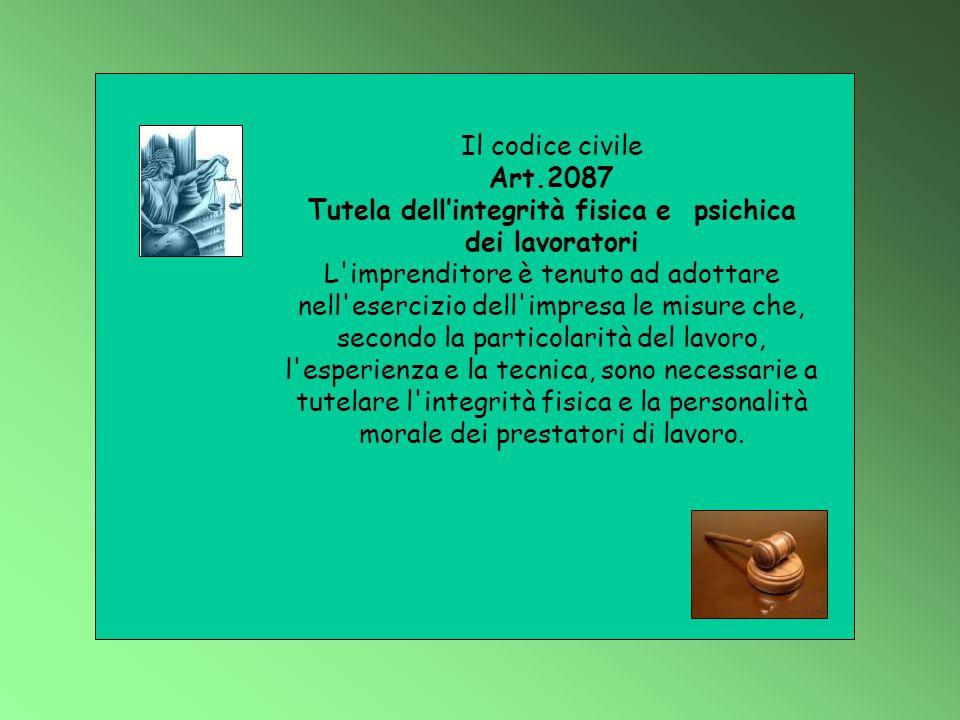 Il codice civile Art.2087 Tutela dell'integrità fisica e psichica dei lavoratori L'imprenditore è tenuto ad adottare nell'esercizio dell'impresa le mi