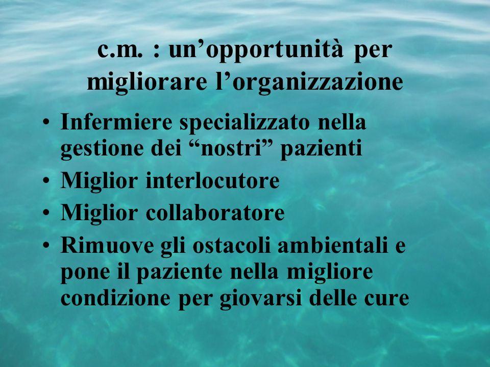 """c.m. : un'opportunità per migliorare l'organizzazione Infermiere specializzato nella gestione dei """"nostri"""" pazienti Miglior interlocutore Miglior coll"""