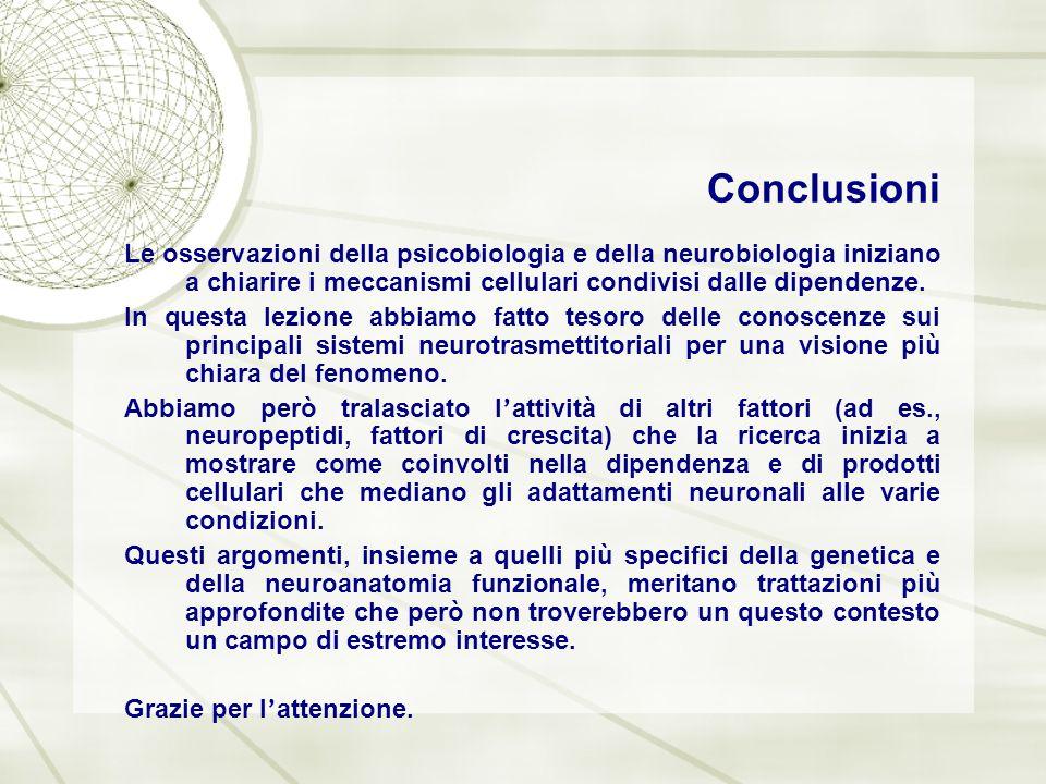 Conclusioni Le osservazioni della psicobiologia e della neurobiologia iniziano a chiarire i meccanismi cellulari condivisi dalle dipendenze. In questa