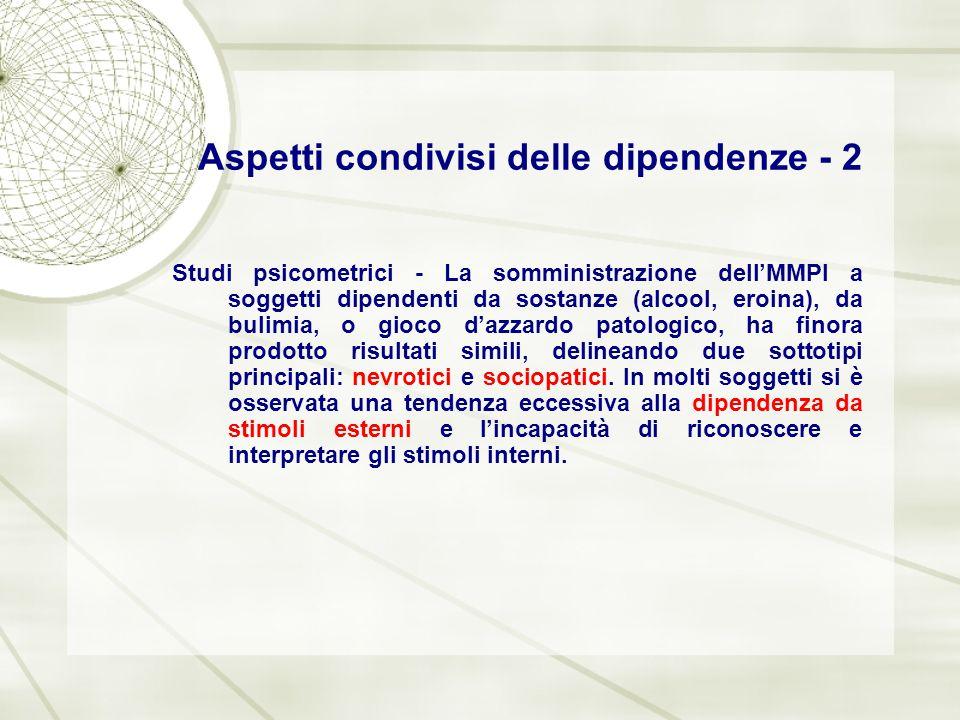Aspetti condivisi delle dipendenze - 2 Studi psicometrici - La somministrazione dell'MMPI a soggetti dipendenti da sostanze (alcool, eroina), da bulim