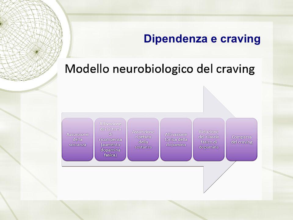 Processo di dipendenza (addictive process) Anomalie nel sistema del reward espongono a stati non soddisfatti di irritazione, vuoto e anedonia.