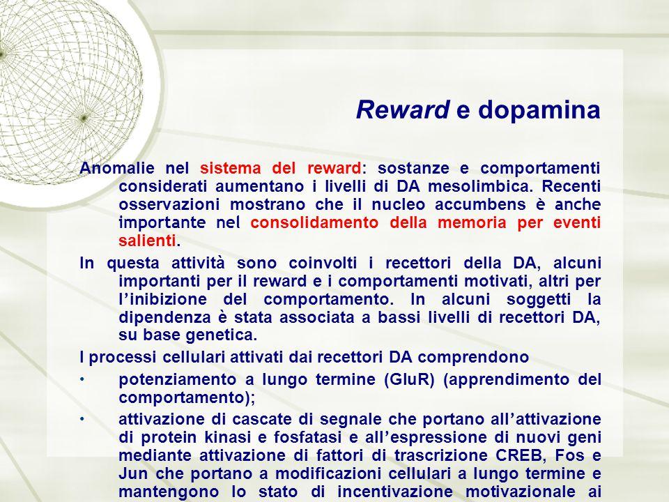 Reward e dopamina Anomalie nel sistema del reward: sostanze e comportamenti considerati aumentano i livelli di DA mesolimbica. Recenti osservazioni mo