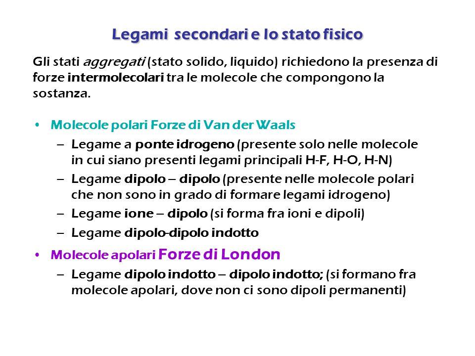 Legamisecondari e lo stato fisico Legami secondari e lo stato fisico Molecole polari Forze di Van der Waals –Legame a ponte idrogeno (presente solo ne