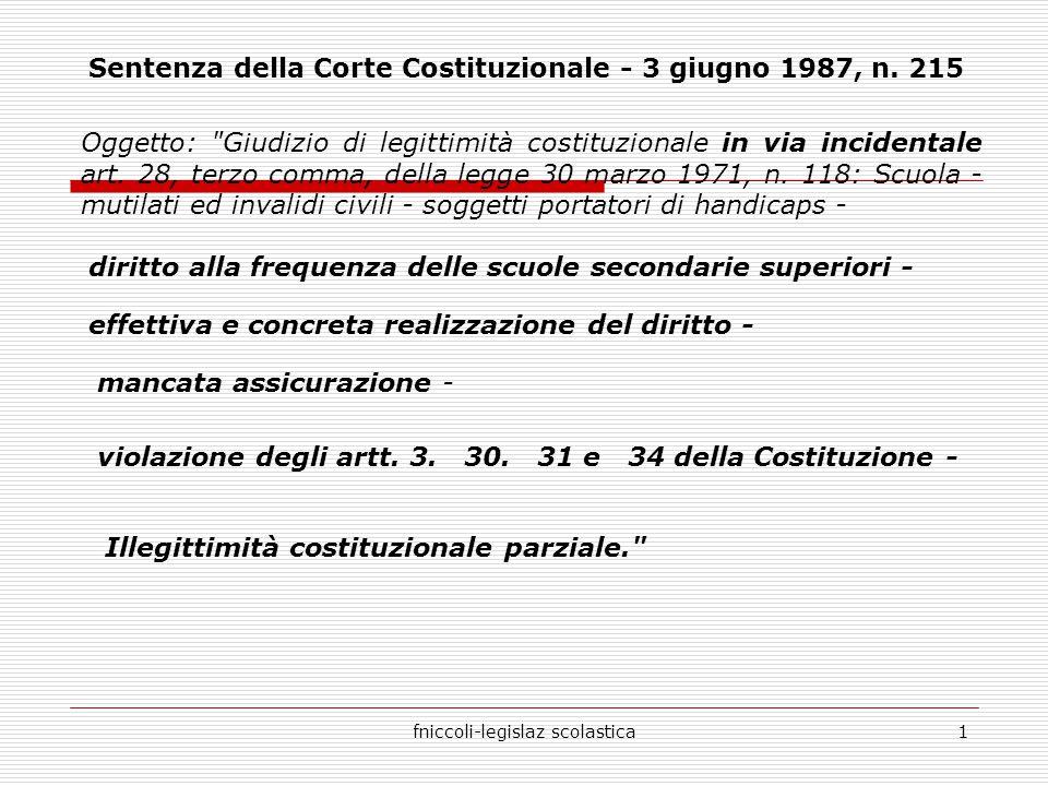 fniccoli-legislaz scolastica1 Sentenza della Corte Costituzionale - 3 giugno 1987, n.